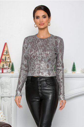 Bluza Yoly gri crop cu design impletit si imprimeu argintiu