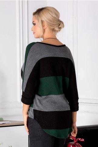Bluza Zane verde cu dungi asimetrica