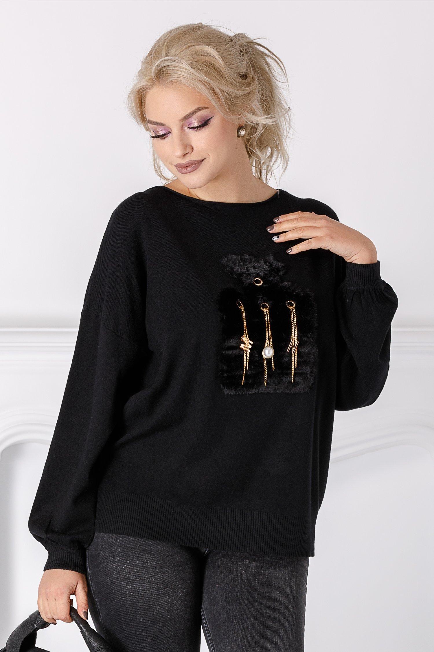 Bluza Zany neagra cu aplicatie pufoasa