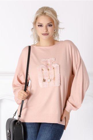 Bluza Zany roz cu aplicatie pufoasa