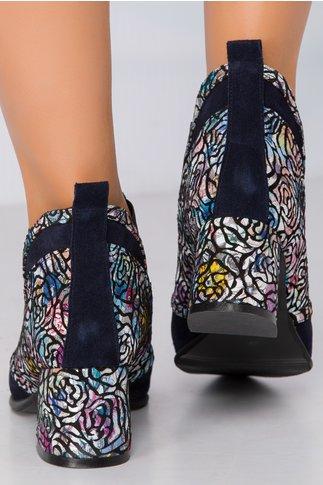 Botine Lanya bleumarin cu elastic si imprimeu floral cu accente metalizate