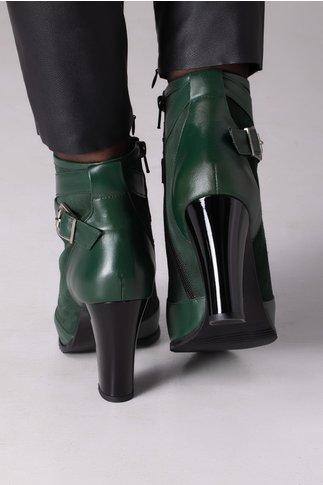 Botine Olla verzi cu toc negru
