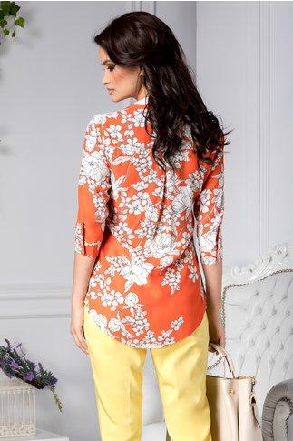 Camasa Adora orange cu imprimeu alb