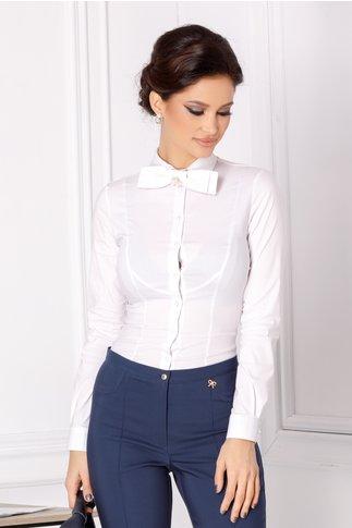 Camasa alba stil body cu papion