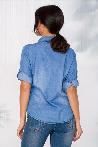 Camasa Alexia albastra din denim cu esarfa