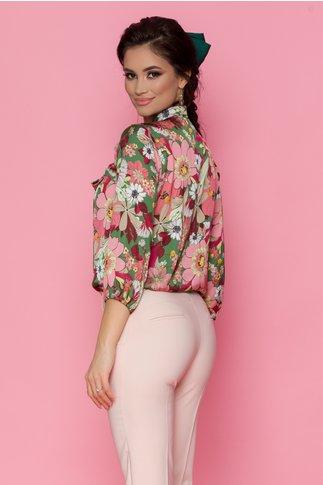 Camasa Casia verde cu imprimeuri florale roz