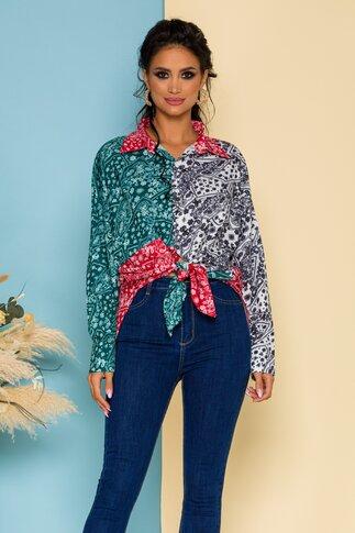 Camasa Demy oversize multicolora cu imprimeu floral tip mandala