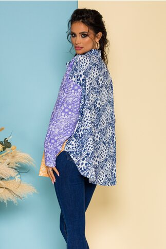 Camasa Demy oversize multicolora in nuante de mov cu imprimeu floral tip mandala