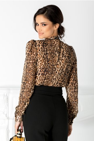 Camasa Emma tip body cu animal print maro