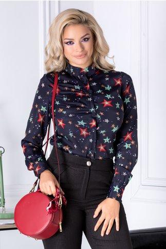 Camasa Erica bleumarin cu guler tunica si imprimeu cu stelute