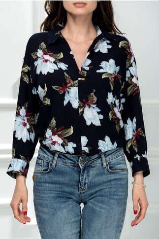 Camasa Erica bleumarin cu imprimeuri florale