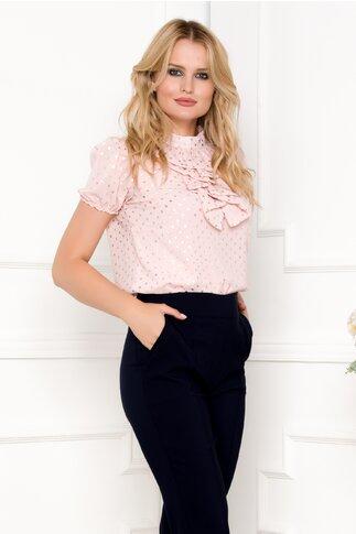 Camasa Fofy roz cu buline argintii si jabou cu brosa decorativa