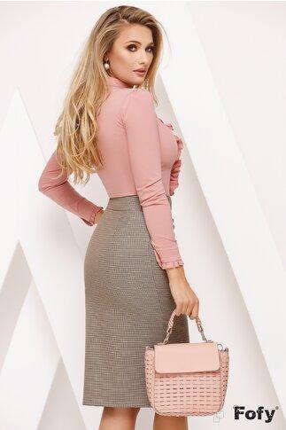 Camasa Fofy roz pudra cu jabou elaborat si brosa