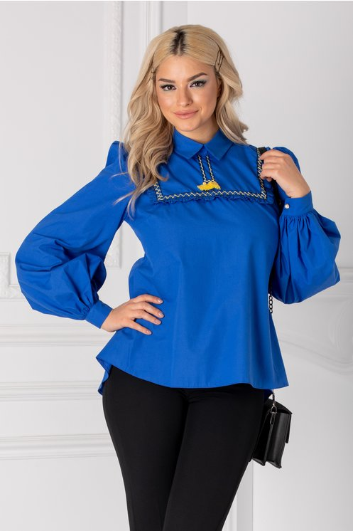 Camasa LaDonna albastra cu maneci bufante si volanas la bust