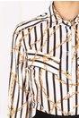 Camasa Larisa alba cu dungi negre si imprimeu galben