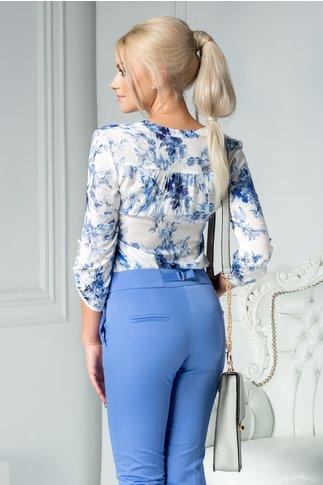 Camasa Lucia alba cu imprimeu albastru