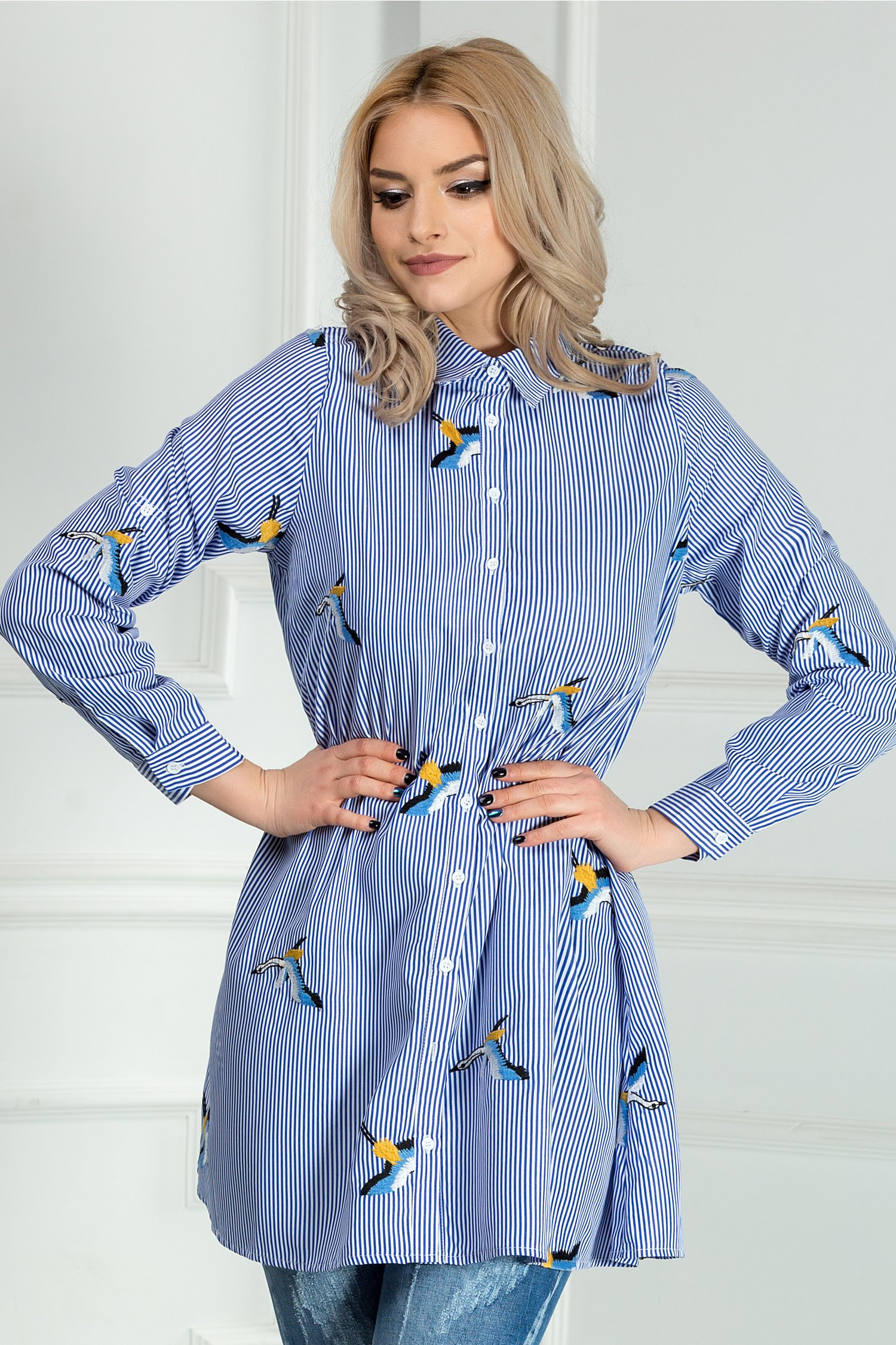 Camasa Maritza casual in dungi albastre