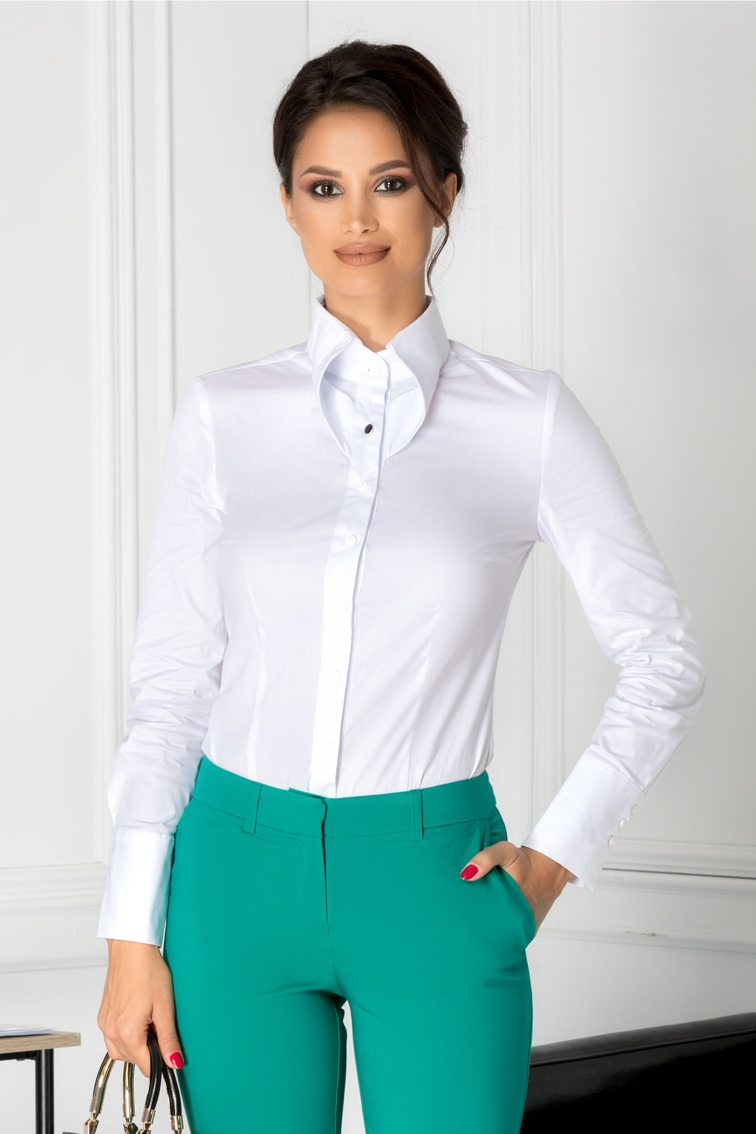 Camasa Melania alba eleganta