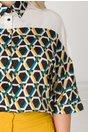 Camasa Monica alba cu imprimeu geometric