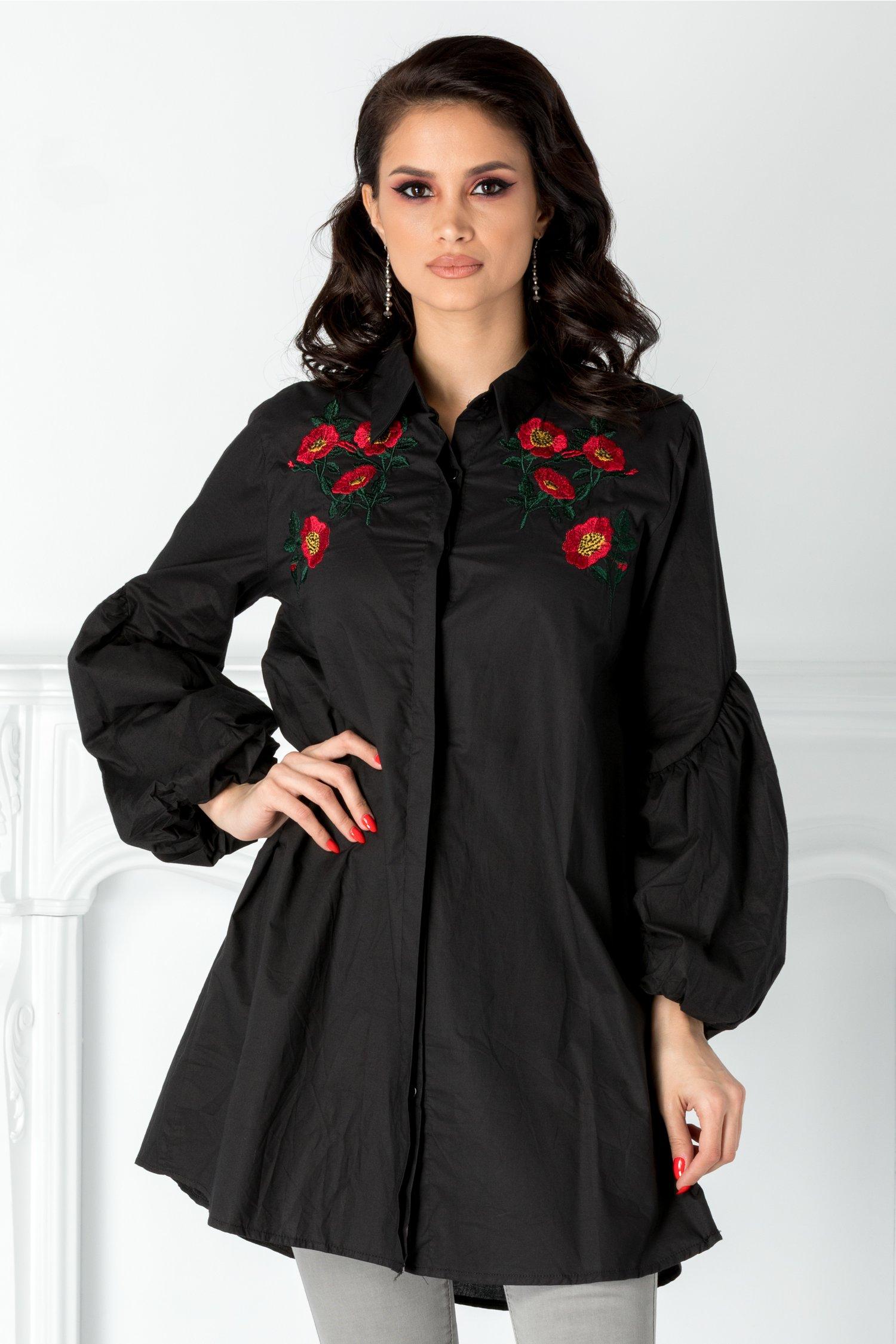 Camasa neagra cu flori brodate la bust