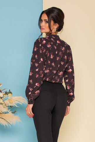 Camasa neagra cu imprimeu floral discret in nuante caramizii