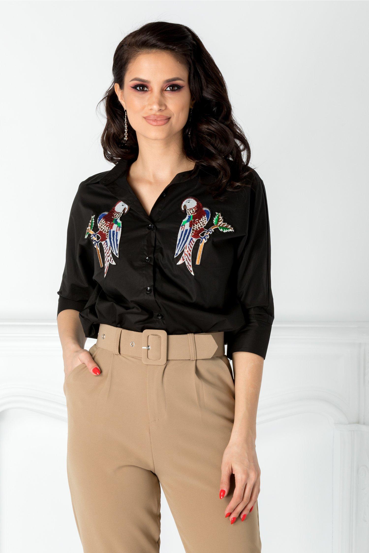 Camasa neagra cu papagali din paiete colorate