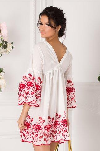 Camasa over size alba cu broderie florala rosie