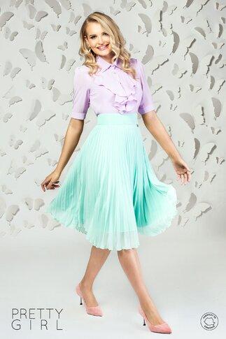Camasa Pretty Girl lila cu jabou din  voal ecru