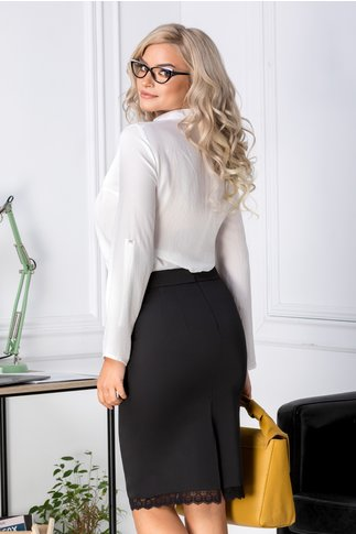 Camasa Sandra alba eleganta asimetrica