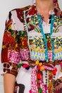 Camasa Sandy lunga multicolora accesorizata cu margelute si ciucurasi