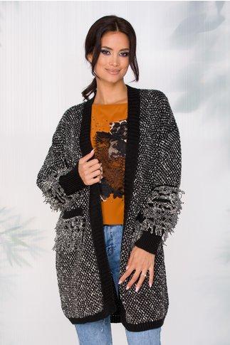 Cardigan Adilyn negru cu insertii albe si franjuri