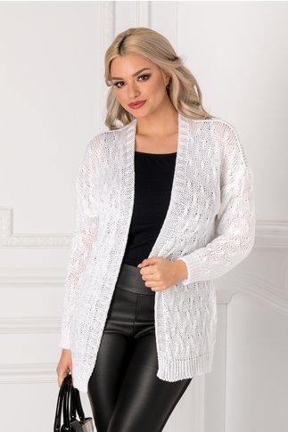 Cardigan alb tricotat