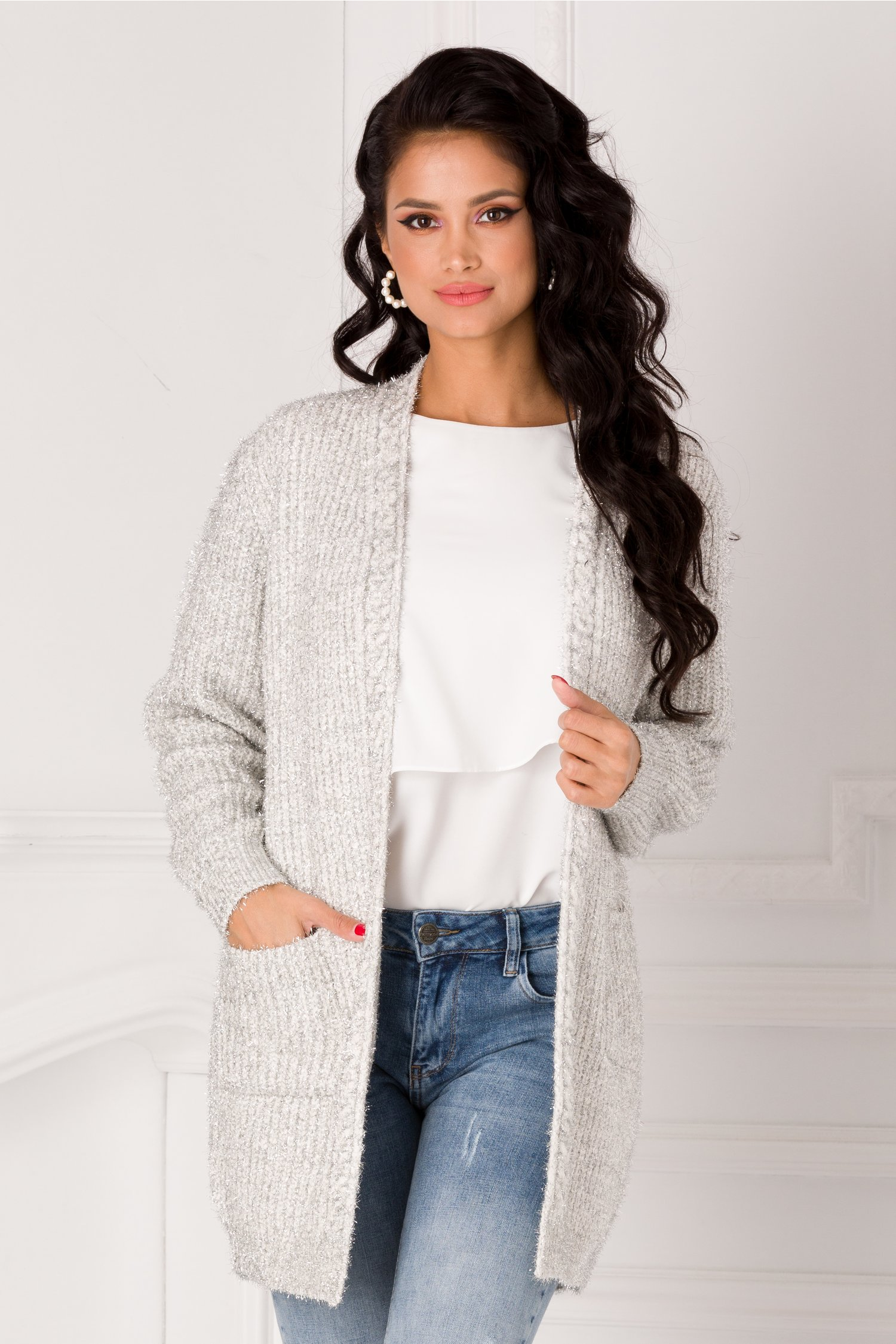 Cardigan Betty alb cu insertii din lurex argintiu