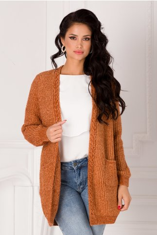 Cardigan Betty maro cu insertii din lurex