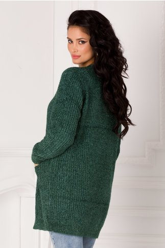 Cardigan Betty verde cu insertii din lurex