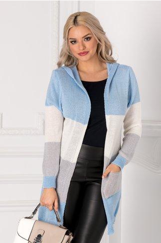 Cardigan bleu tricotat cu gluga