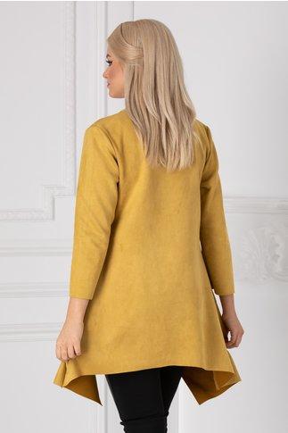Cardigan galben mustar asimetric cu buzunare