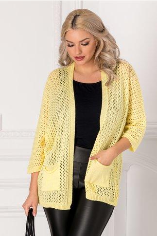 Cardigan galben tricotat cu gaurele