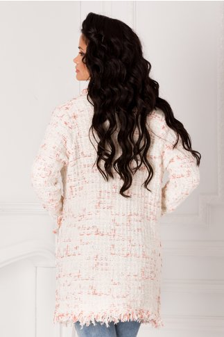 Cardigan Marisa tricotat alb cu insertii somon