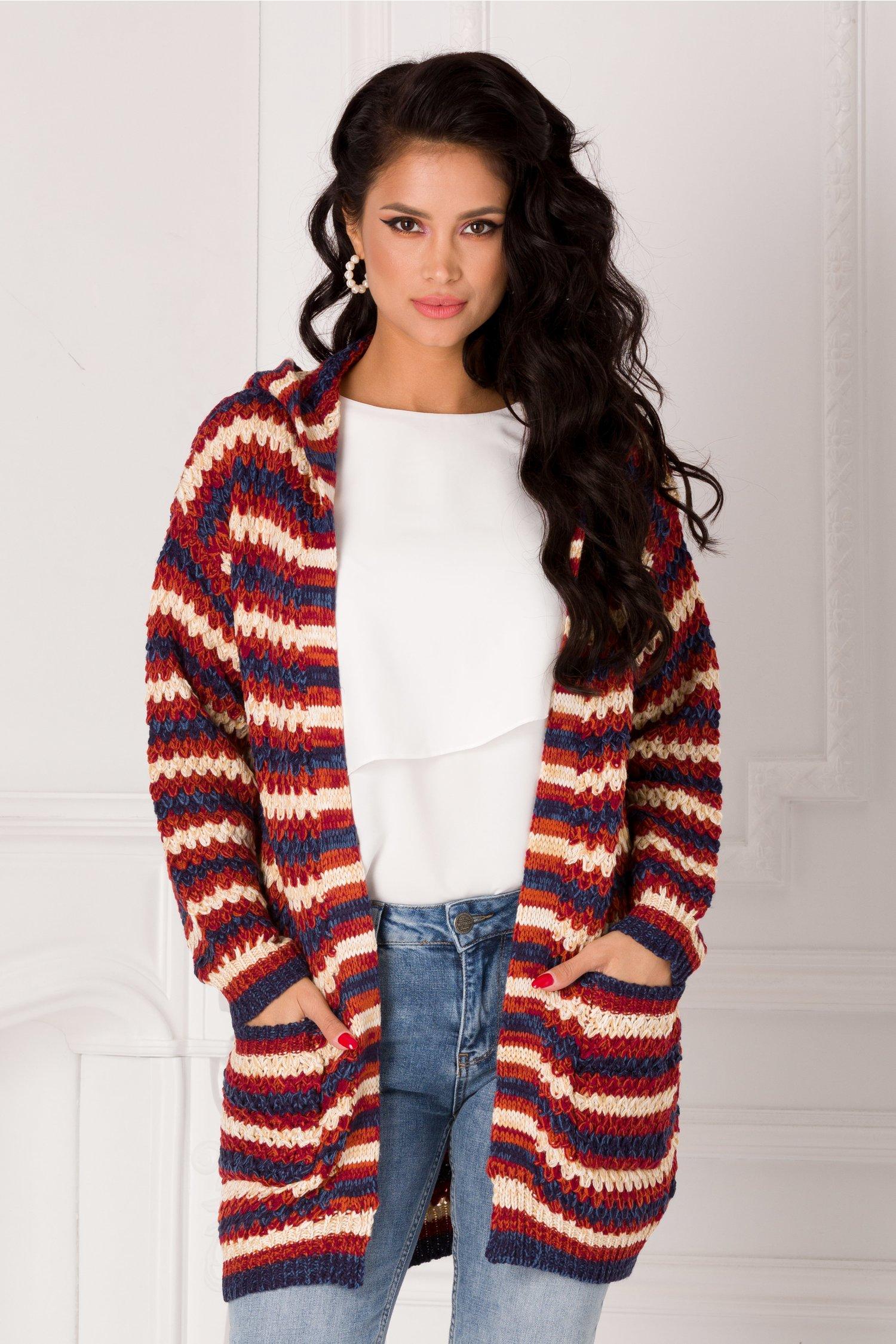 Cardigan Missa brodo tricotat cu dungi