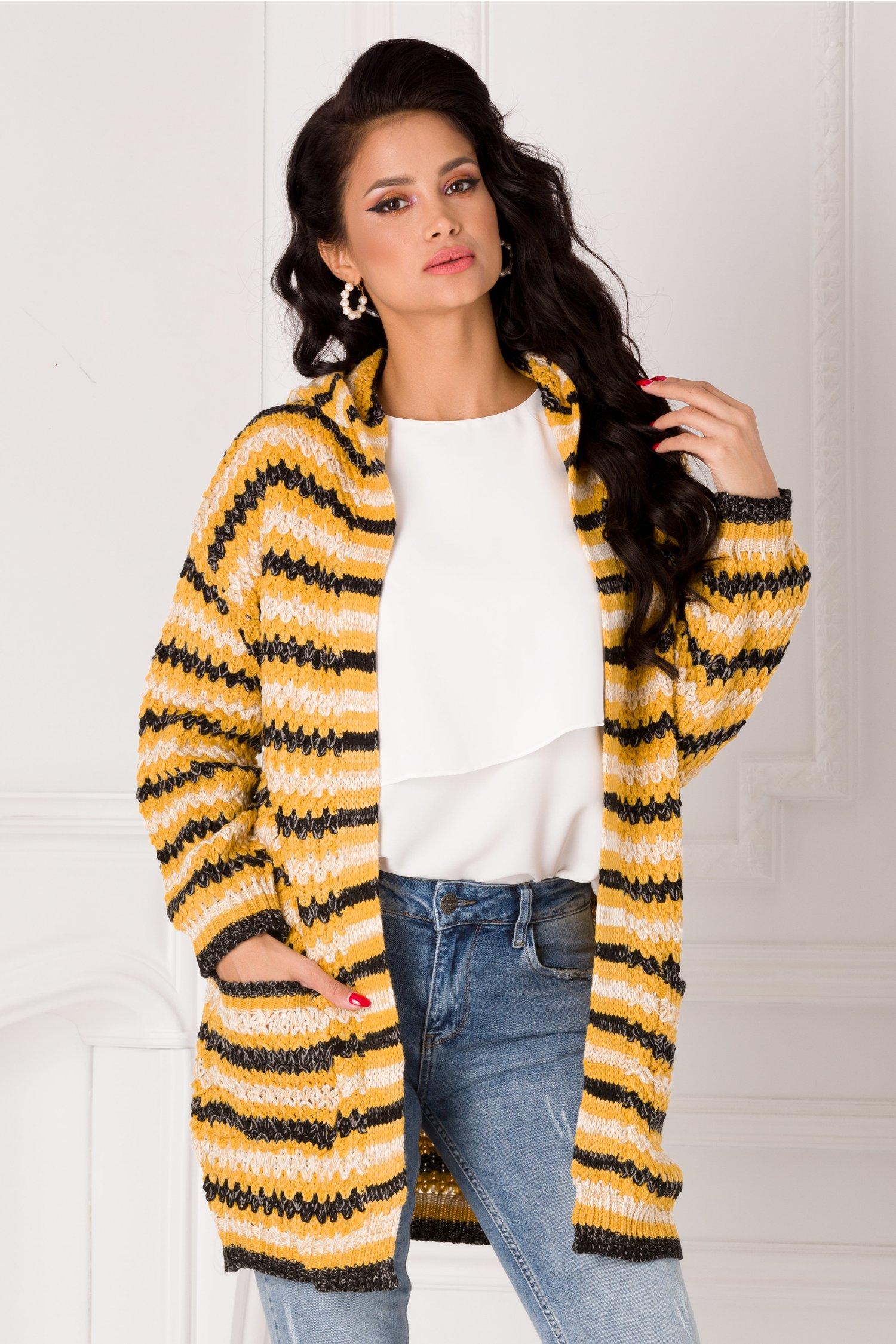 Cardigan Missa galben tricotat cu dungi