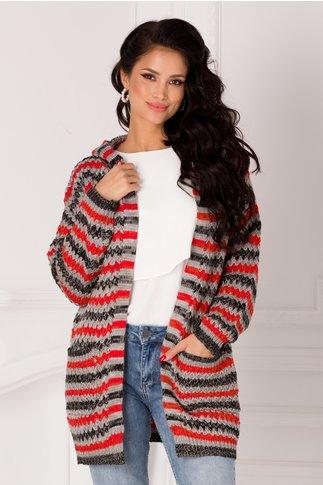 Cardigan Missa gri tricotat cu dungi