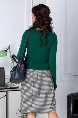 Cardigan scurt verde cu funda