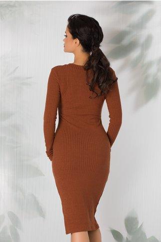 Cardigan tip rochie maro lung