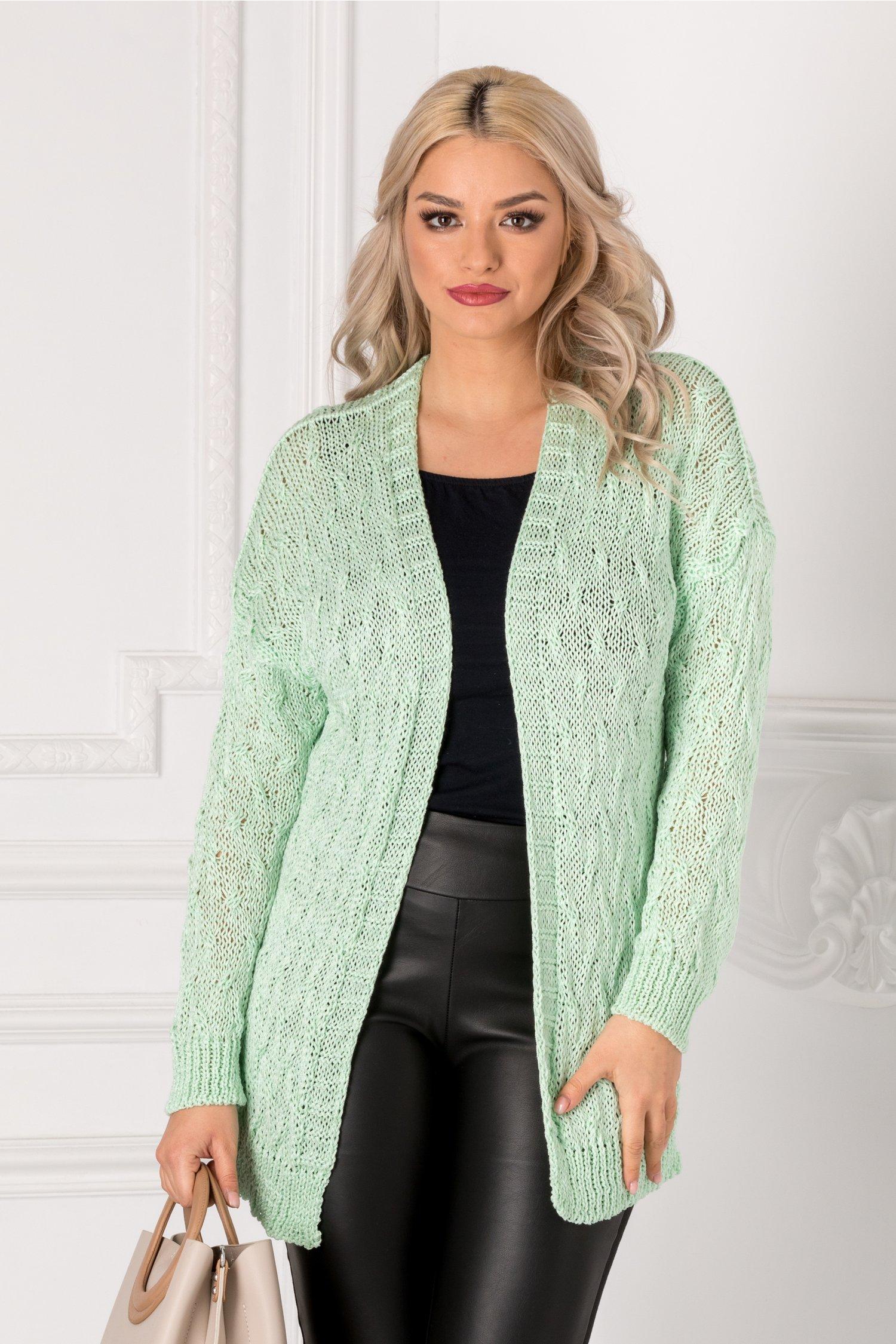Cardigan verde mint tricotat thumbnail