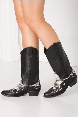 Cizme negre stil ciocata cu imprimeu piele de sarpe