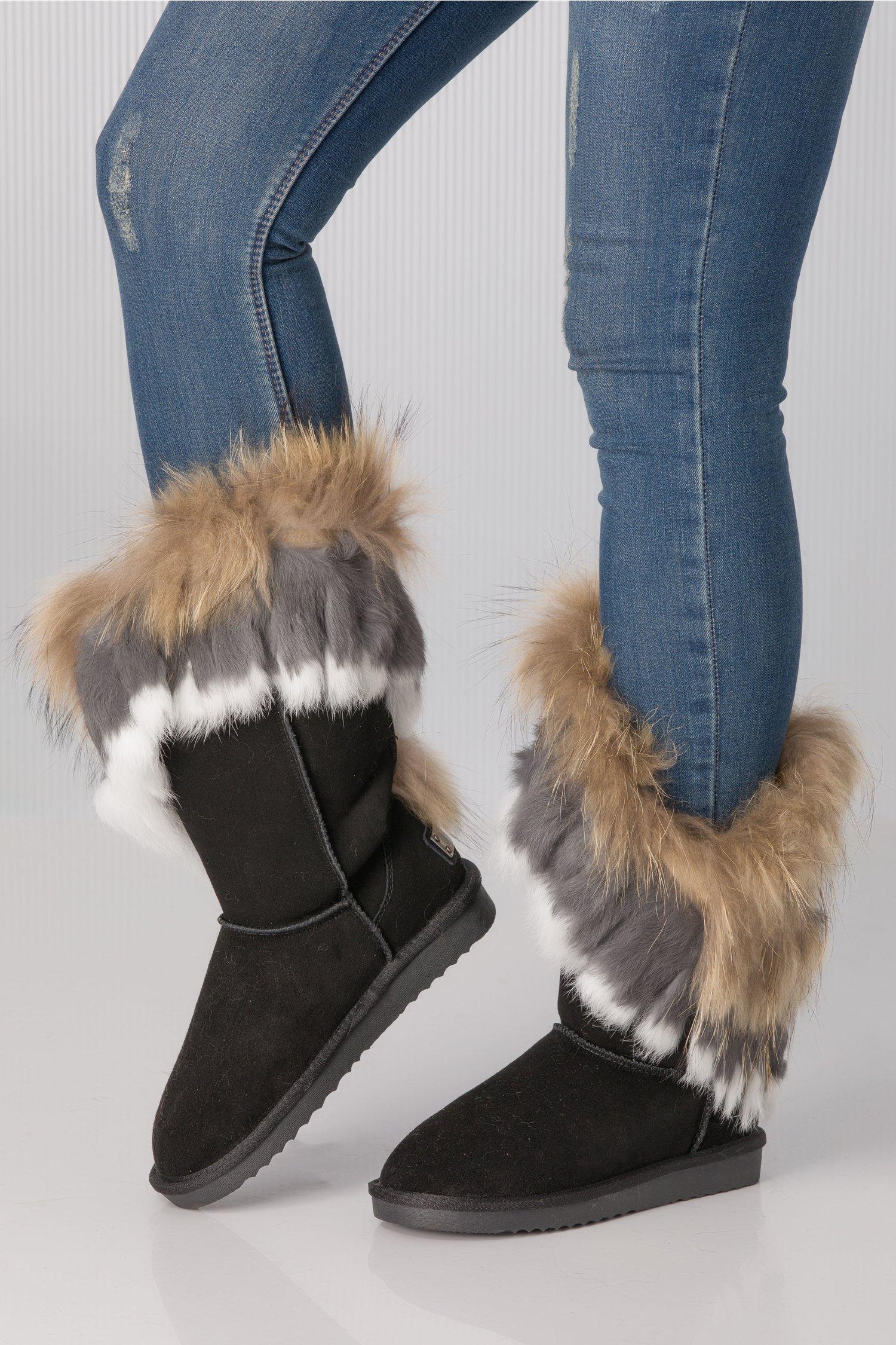 Cizme negre tip UGG cu blanita si franjuri