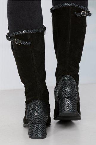 Cizme Petra negre cu imprimeu pe toc si varf