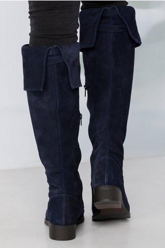 Cizme Thania bleumarin lungi reglabile cu catarama
