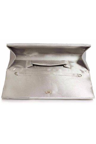 Clutch argintiu din satin cu design geometric